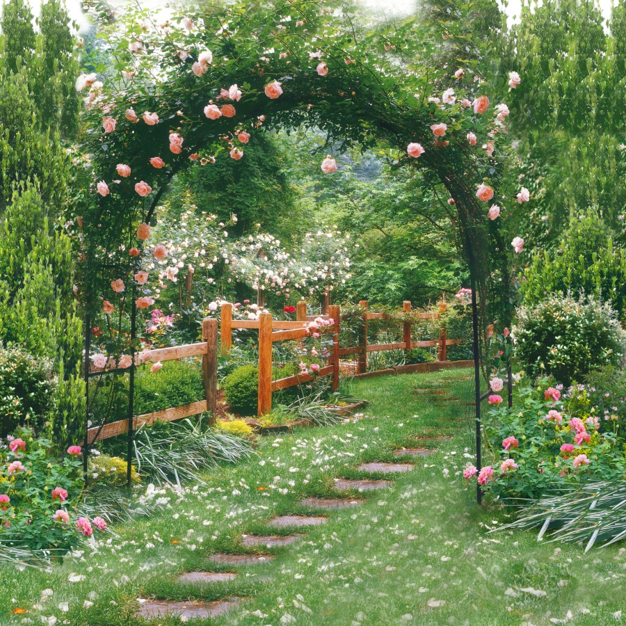 Laeacco Flowers Green Vines Garden Arch Gate Landscape Photography Backgrounds Vinyl Custom Camera Backdrops For Photo Studio 200cm 150cm backgrounds large family backyard garden flowers form dense growth arches childr photography backdrops photo lk 1062