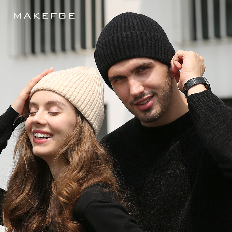 2cdcb390422 2018 Winter Cashmere Knit Beanies Winter Couple Hat Man Woman Soft Cap  Fashion Thicken Wool Unisex