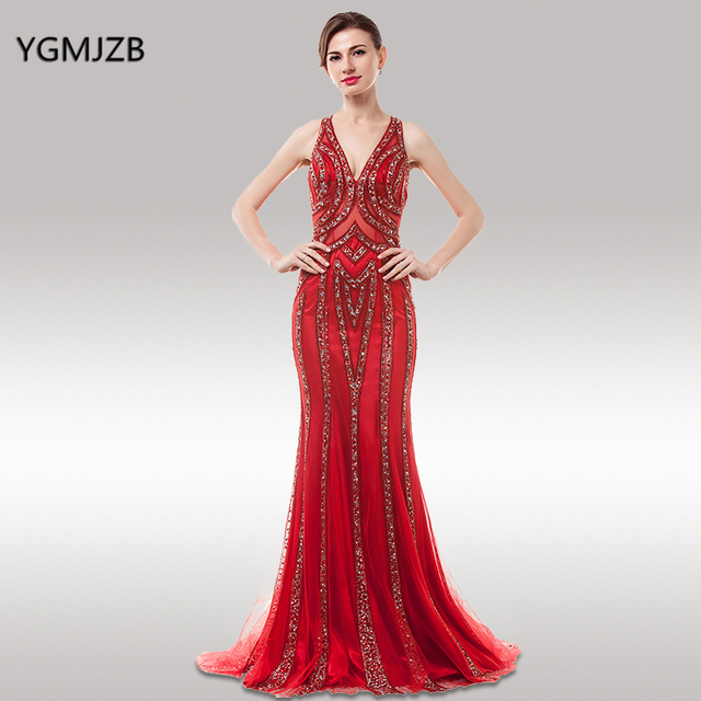 Luxury Evening Dresses 2018 Mermaid V Neck Sparkly Beaded Crystal Open Back  Red Evening Gown African Women Prom Dress Prom Gown 63a9d2e279e6