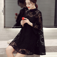 Summer Women Lace Hollow Loose Dress Casual Sweet O Neck Pullovers Three Quarter Sleeve Two Pieces