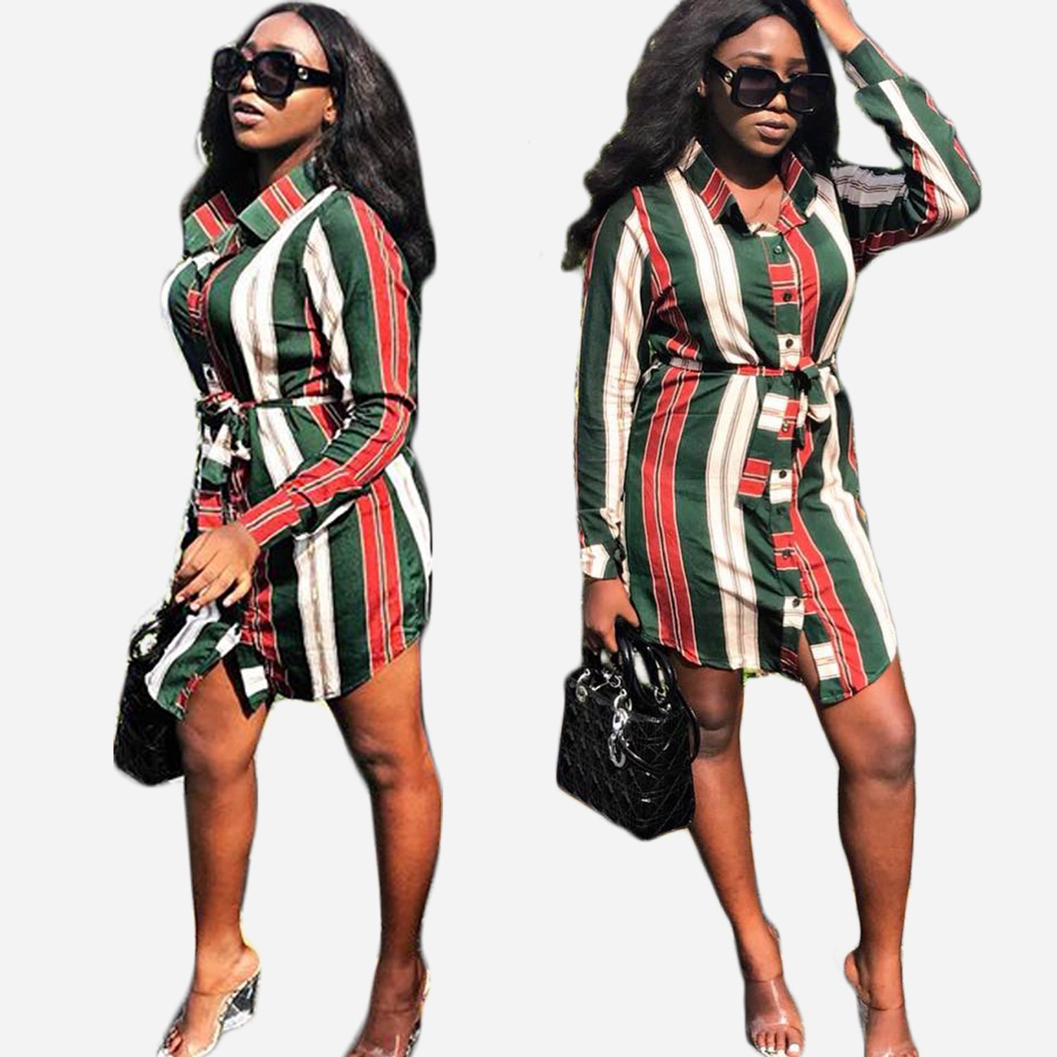 Spring 2019 new style, fashionable African long shirt with stripes, single buckle belt,