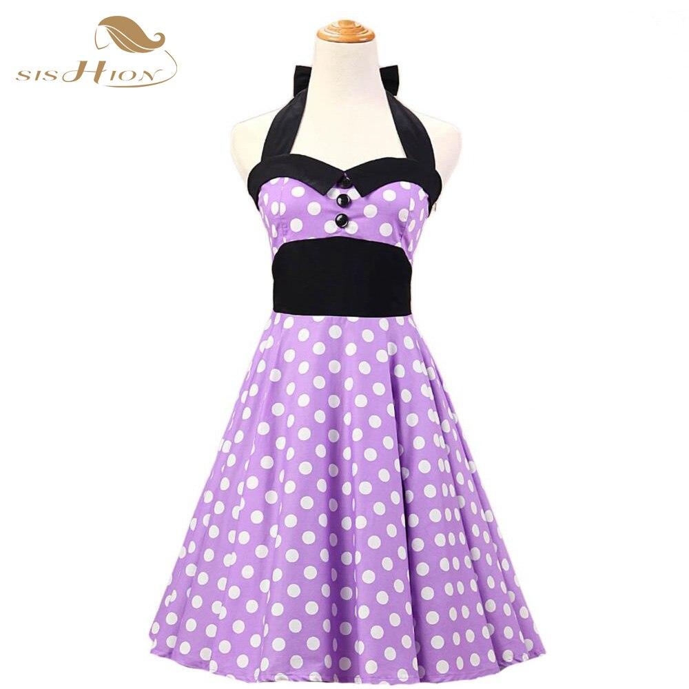 SISHION 50s Halter Lilac Light Purple Women Dress Retro Pin Up ...