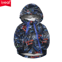 IYEAL Spring Children Boys Jackets And Coats With Fleece Hooded Letter Printed Kids Autumn Windbreaker Outerwear For 10 Years