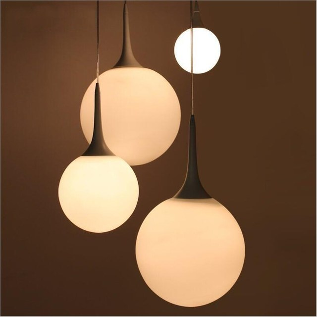 simple white frosted glass ball pendant. 25/30/35/40cm Modern Creative Simple Frosted White Glass Pendant Lights Lamp Ball O