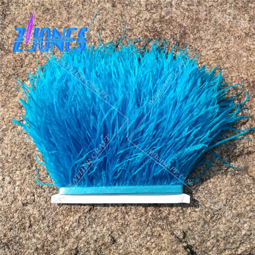 High Quality Fluffy Turquoise Ostrich Feather Trimming Cloth 10Yards Long DIY Clothing Accessories Decoration Accessories 10-15