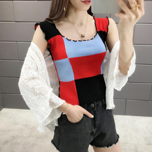 Women Contrast Color Fashion Camisole Top Women Casual Wild Knit Camisole Round Tank Top Sleeveless Women's Camisole contrast knit tank top