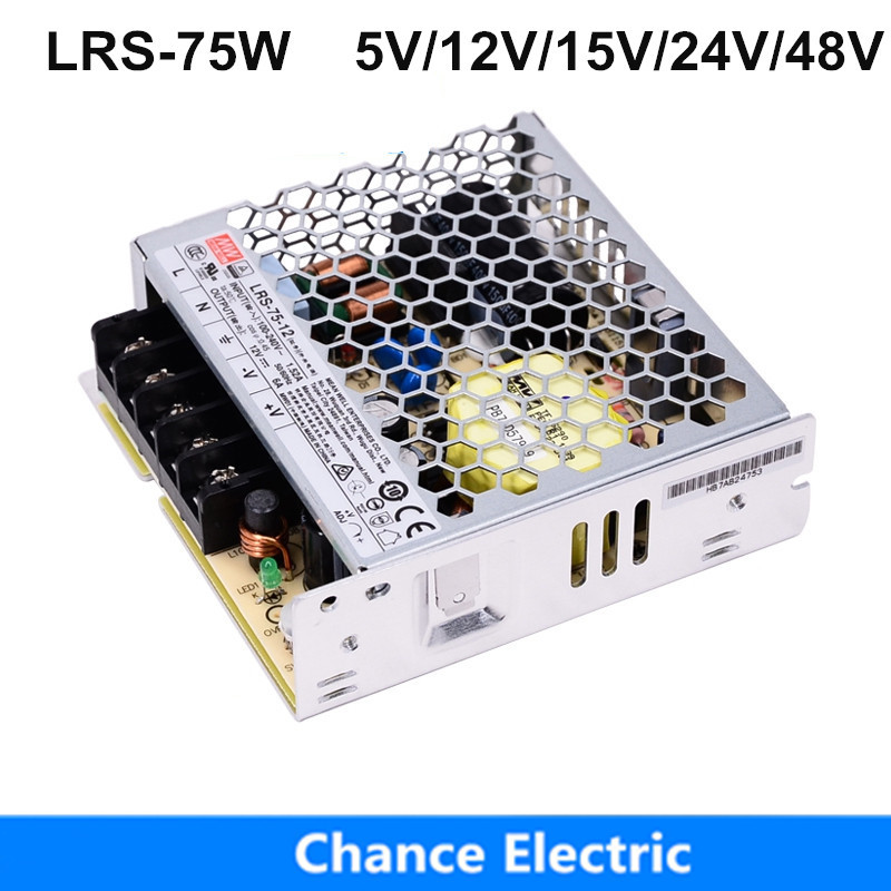 LRS-75 <font><b>DC5V</b></font> 12V 24V <font><b>48V</b></font> Switching Power Supply 85-264VAC input Meanwell Power Supply 15V 36V driver For LED Strip image