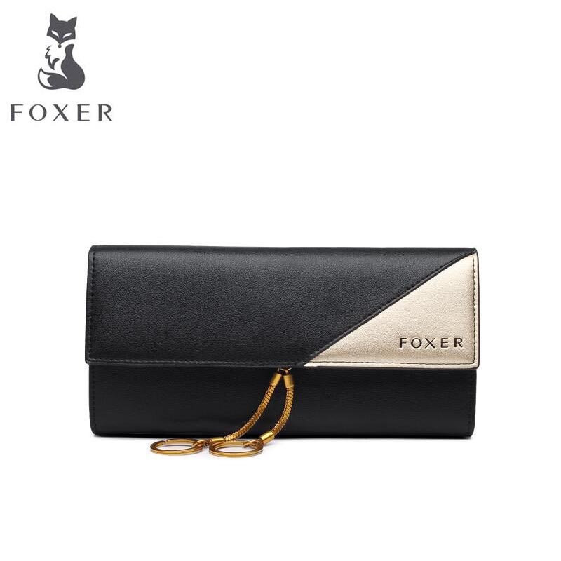 FOXER 2018 New women leather wallets new women long wallets Simple fashion Buckle leather wallets purse women clutch bags wallets