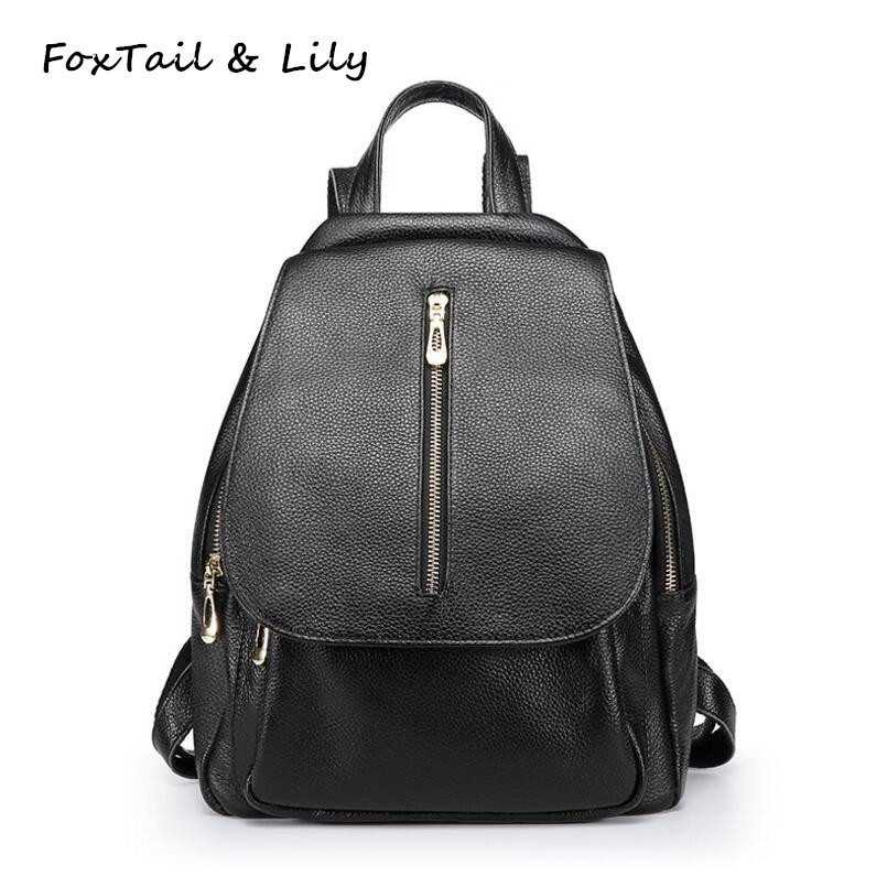 FoxTail & Lily Brand Women 100% Soft Genuine Leather Backpack Famous Designer Fashion Travel Backpacks Black Female Shoulder Bag