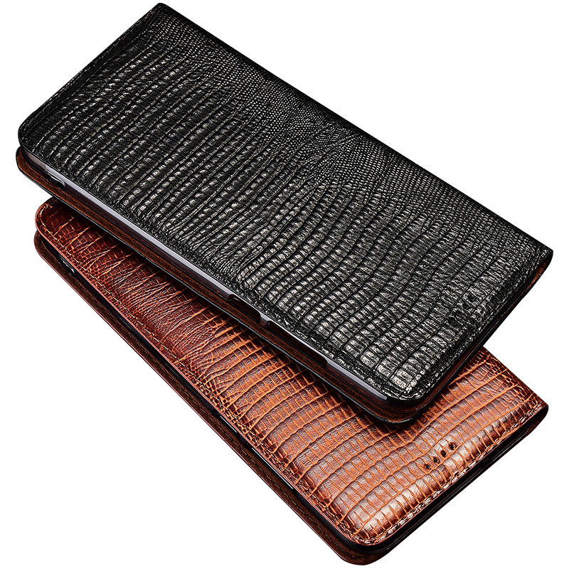 Phone Case For ZTE AXON 7S 9 Pro Lizard Grain Flip Case Magnetic Stand Genuien Leather Phone Cover
