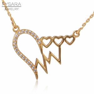 FYSARA ECG Heart Love Necklace & Pendant For Women Wedding Jewelry CZ Crytals Short Necklaces Luxury Collar Silver Chokers