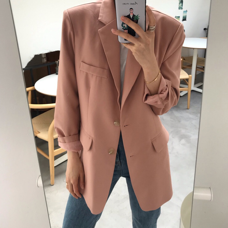 Elegant Single-breasted Women Blazer Jacket Casual Loose Female Workwear Outerwear Elegant Solid Women Suit Jacket 2019