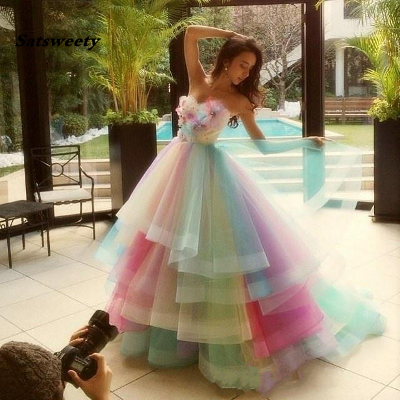 Colorful Rainbow Ball Gown   Prom     Dresses   Strapless Flowers Tulle Floor Length Bandage Evening Party   Dresses