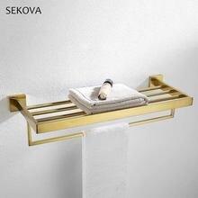 Матовая Золотая стойка для полотенец из нержавеющей стали квадратный