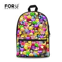 FORUDESIGNS School Backpack for Girls Teenagers Funny Emoji Printing School Bags Junior Students School Satchel Boys Schoolbag
