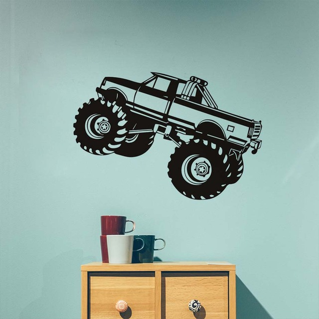 Vinyl big truck wall sticker removable pvc off road vehicle decals in kids rooms art