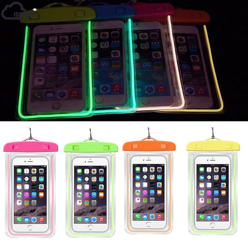 ISKYBOB Hot Sale Luminous Glow Waterproof Pouch Bag Pack Dry Case Cover For Your Phone