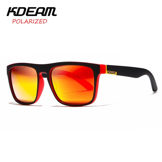 KDEAM spectacles Polarized Sunglasses Men Sport Eyewear Women oculos de sol  Reflective Coating UV400 zonnebril With Case KD156