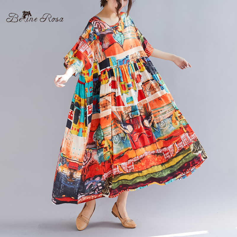 BelineRosa Summer Holiday Style Dress in Big Sizes Printing Super Loose  High Waist Plus Size Dress 159a2d0c6904