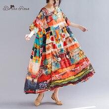 цена BelineRosa Summer Holiday Style Dress in Big Sizes Printing Super Loose High Waist Plus Size Dress XXL 3XL 4XL 5XL TYW00976 онлайн в 2017 году