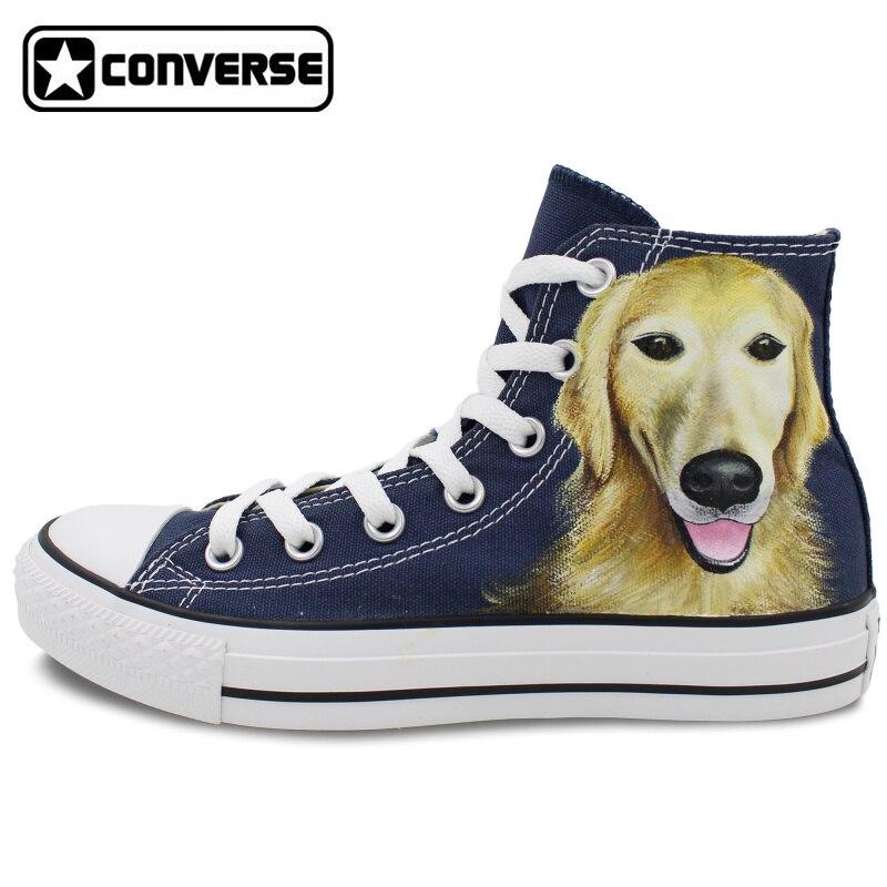 Prix pour Bleu Converse All Star Pet Chien Golden Retriever Original Custom Design Peint À La Main High Top Toile Sneakers D'anniversaire Cadeaux