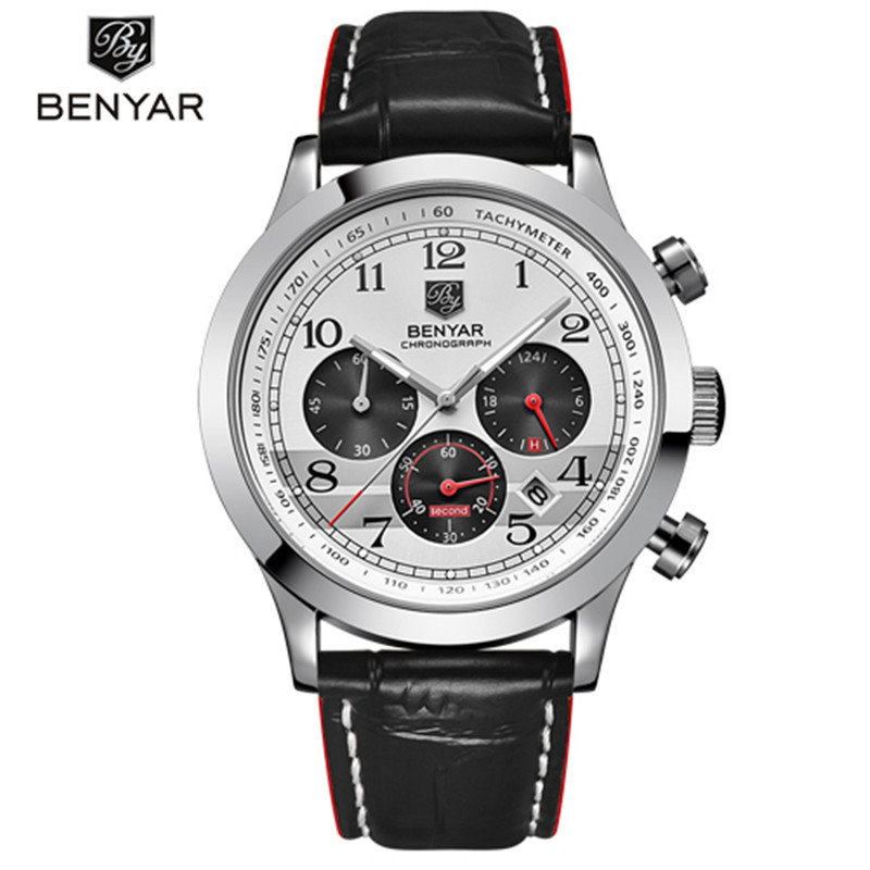 BENYAR Brand Luxury Mens Watches Fashion Chronograph Sport Quartz Leather Waterproof Military Watch Clock Male Relogio Masculino fashion luxury waterproof analog men sport watch chronograph mens leather watches male clock quartz wristwatch relogio masculino