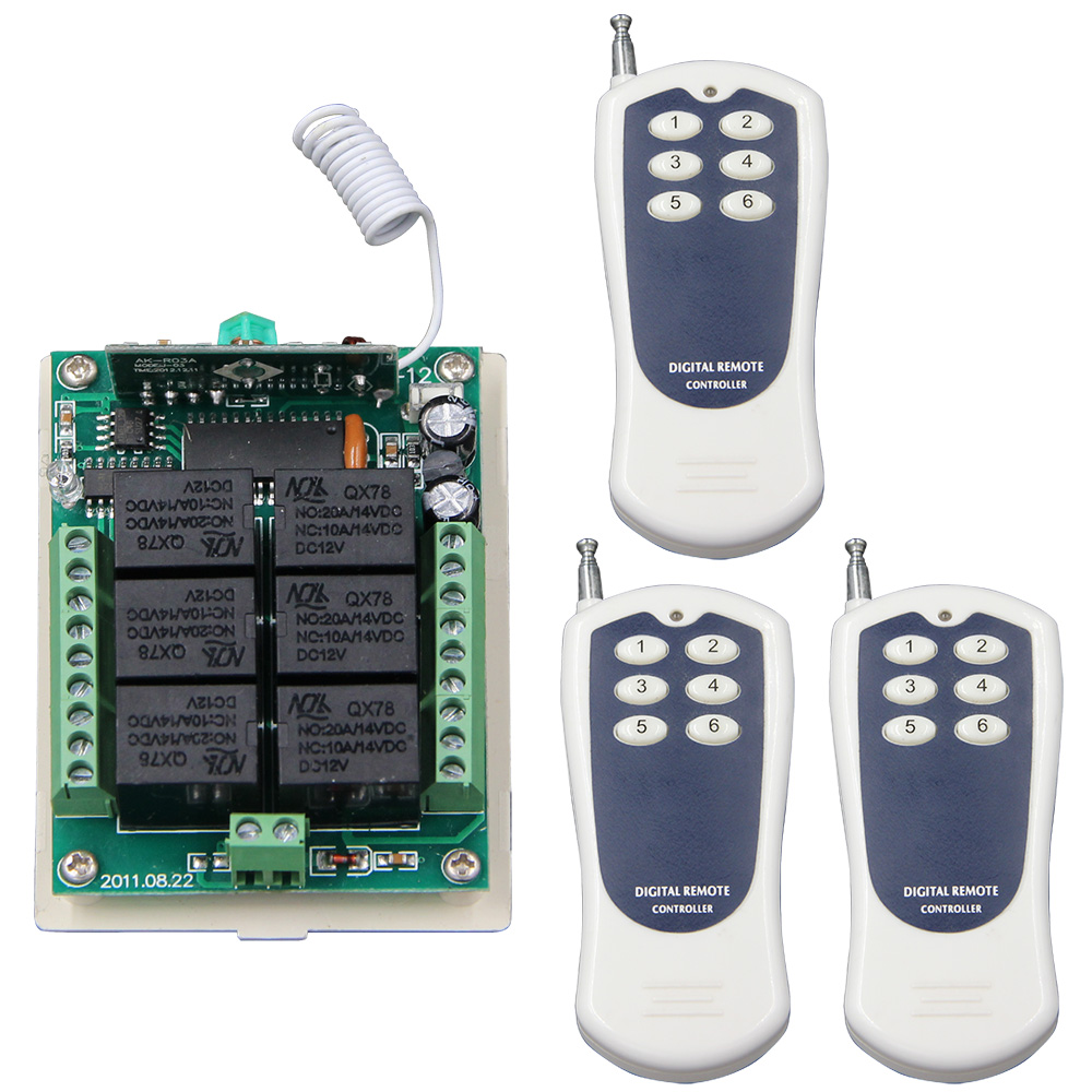 DC 12V 24V 6 CH 6CH RF Wireless Remote Control Switch System,3 X Transmitter + Receiver,315/433MHZ,Momentary / Toggle / Latched new ac 220v 30a relay 1 ch rf wireless remote control switch system toggle momentary latched 315 433mhz