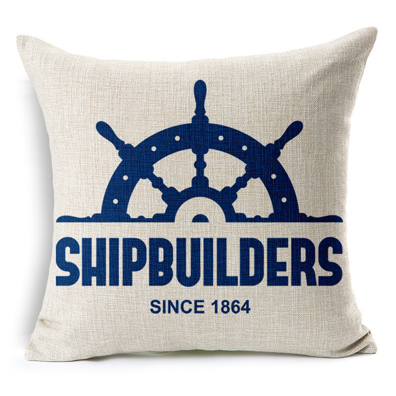 Ocean Style Decorative Pillowcase Nautical Anchor Sailing Boat Map Linen Cotton Cushion Covers Car Sofa Hotel Home Decor 45x45cm
