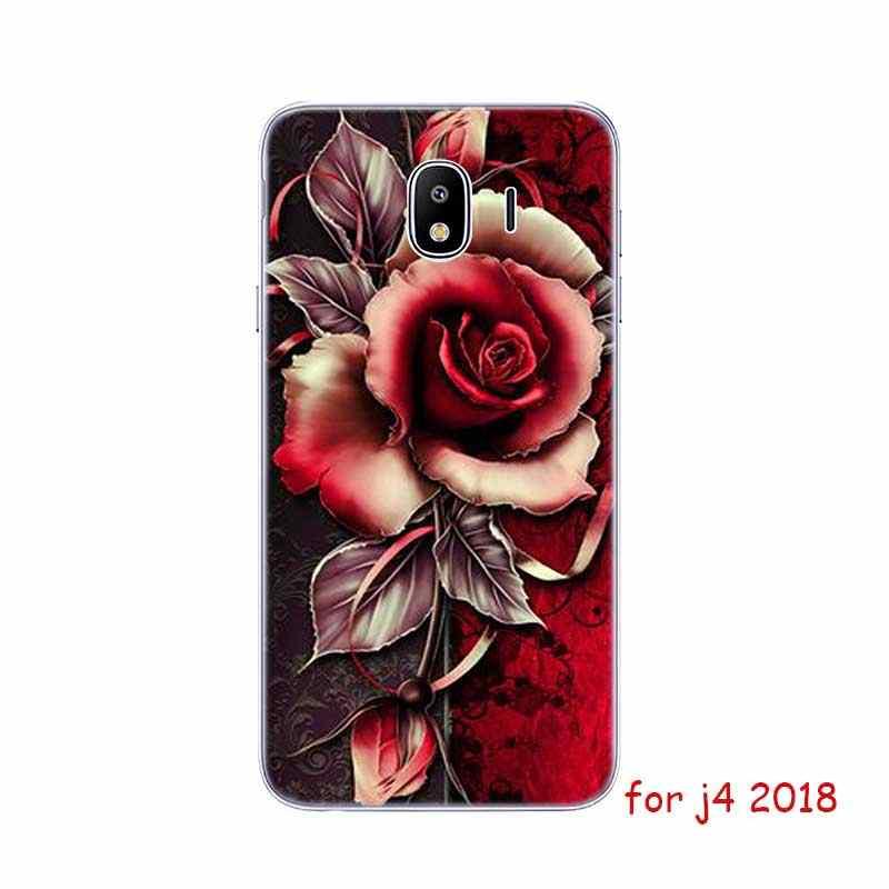 Caso de Telefone Silicone Macio transparente Natureza e flores Para Samsung Galaxy j3 j4 j5 j6 j8 j7 Plus 2018 2017 prime