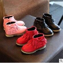 2017 nuevo invierno de los niños zapatos de las niñas de algodón del arco de la manera empate botas de princesa botas de nieve, además de terciopelo tamaño 21 a 36