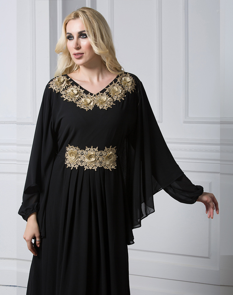 Women Muslim Maxi Dress Embroidery Long Sleeve Abaya Kaftan Islamic Arab Dubai Robe Chiffon Dress LF-30