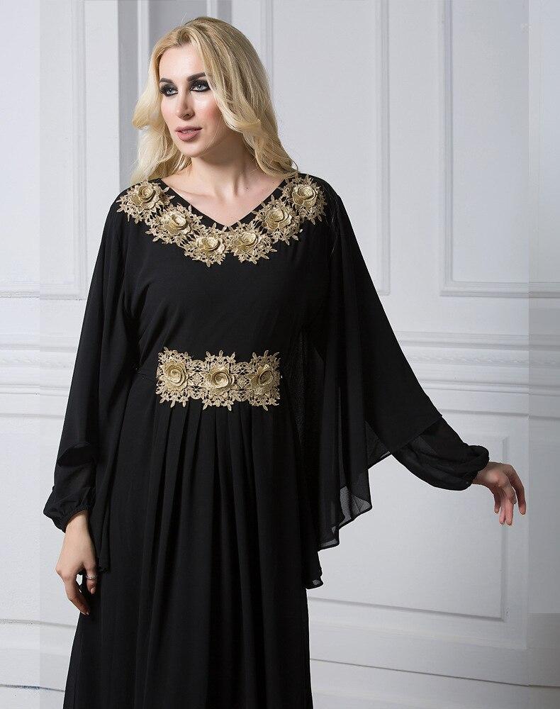 Women Muslim Maxi Dress Embroidery Long Sleeve Abaya Kaftan Islamic Arab Dubai Robe Chiffon Dress LF 30