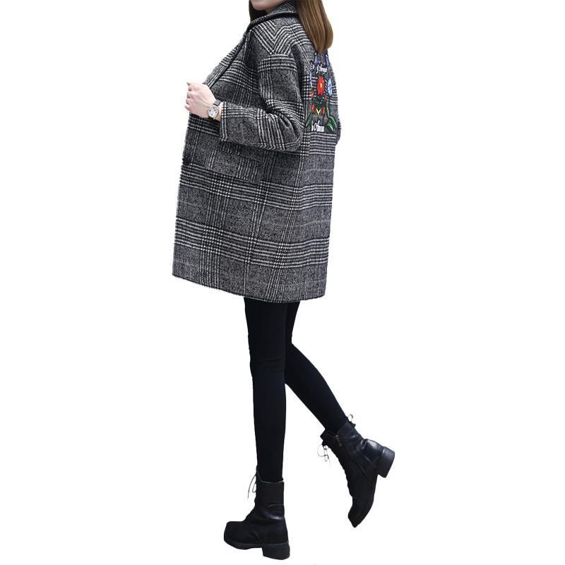 Automne 018 Coréenne Elégantes Abrigo Mujer Broderie Femmes Donna Hiver A Manteau Plaid model De Manches Model Cappotto B À Vêtements Laine Longues En 7rxI5w8qx