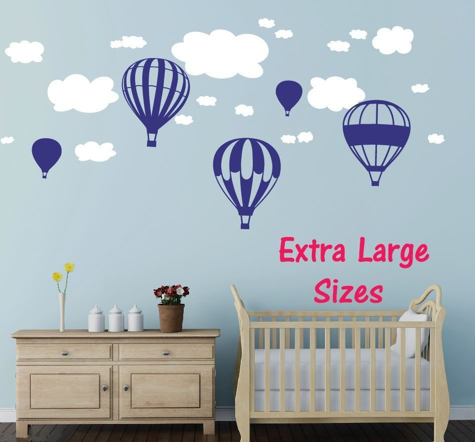 Huge 5 X Hot Air Balloons Wall Stickers + Clouds Wall Stickers For Nursery  Baby Rooms