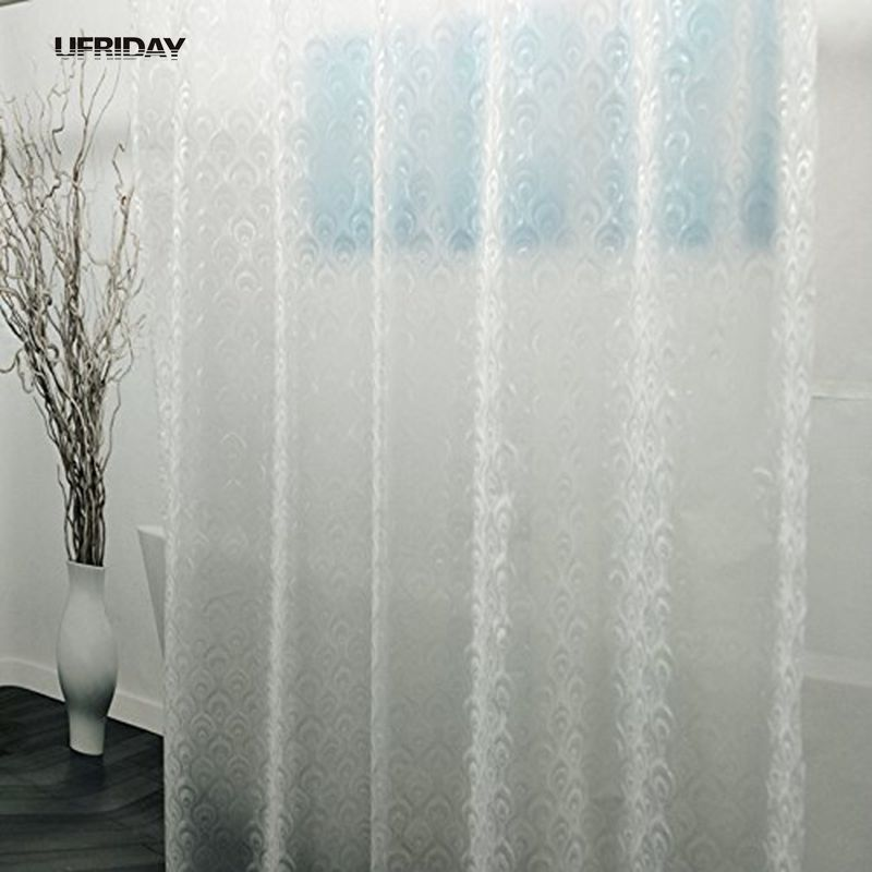 UFRIDAY New 3D Peacock Feather PEVA Shower Curtain Semi Transparent Curtains Liner For Bathroom Plastic In From Home