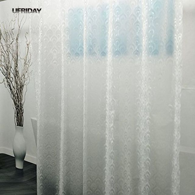 UFRIDAY New 3D Peacock Feather PEVA Shower Curtain Semi Transparent Curtains Liner For Bathroom