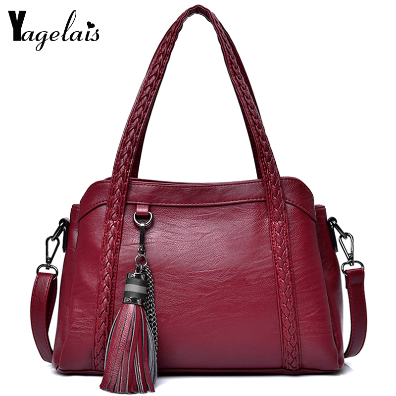 Women Dress Solid Color Handbag Zipper Messenger Bag With Tassels Import Soft Leather Bags Women Versatile Crossbody Bags stylish women s crossbody bag with solid