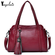 e5b85d240f Women Dress Solid Color Handbag Zipper Messenger Bag With Tassels Import  Soft Leather Bags Women Versatile