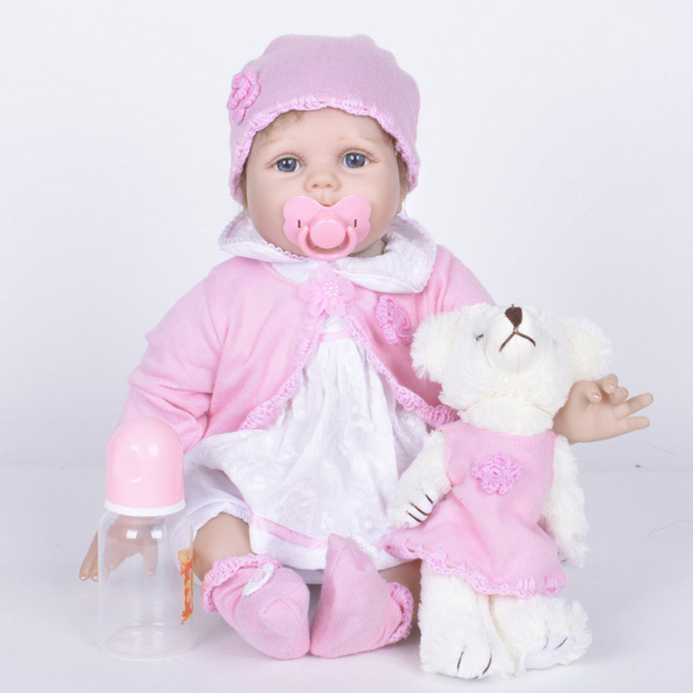 22 inches Soft Silicone Lovely Reborn Girl Doll Cute Princess Newborn Baby with Cloth Body Toy for Kids Birthday Christmas Gift 22 inches realistic reborn girl doll soft silicone cute newborn baby with cloth body toy for kids birthday christmas gift