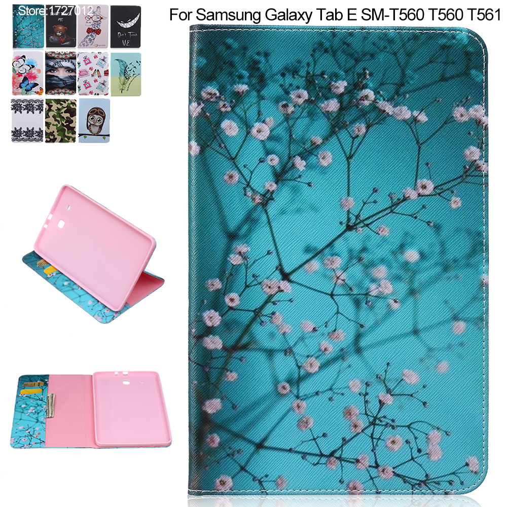 Fashion PU Leather Case For Samsung Galaxy Tab E 9.6 Smart Cover Wallet for Samsung T560 T561 + Screen film + Stylus