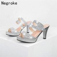 Luxury Crystal Women Sandals Sexy High Heels Summer Slides Sandals Ladies Pumps Shoes Woman Slip On Sandalias Mujer