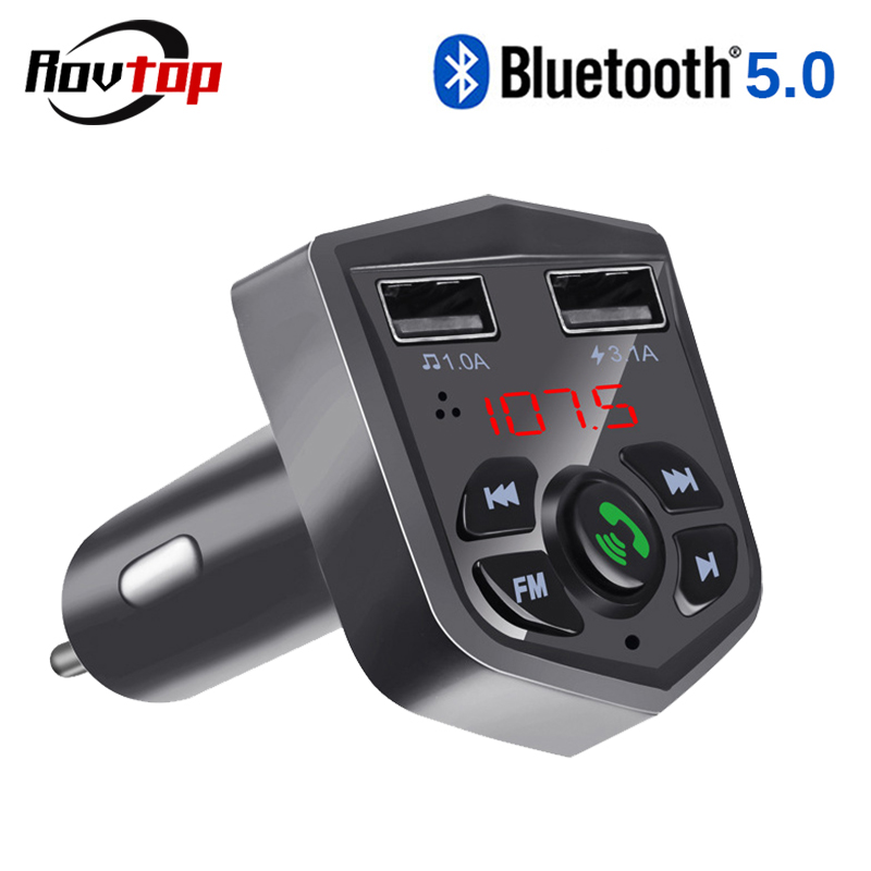 Rovtop Bluetooth 5.0 Car Kit Handsfree Wireless FM Transmitter 3.1A Quick Charge Dual USB Charger LCD TF Card Car MP3 Player Z2