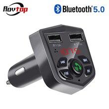 Rovtop Bluetooth 5,0 автомобильный комплект беспроводной fm-передатчик громкой связи 3.1A Быстрая зарядка двойной USB зарядное устройство ЖК TF карта Автомобильный mp3 плеер Z2