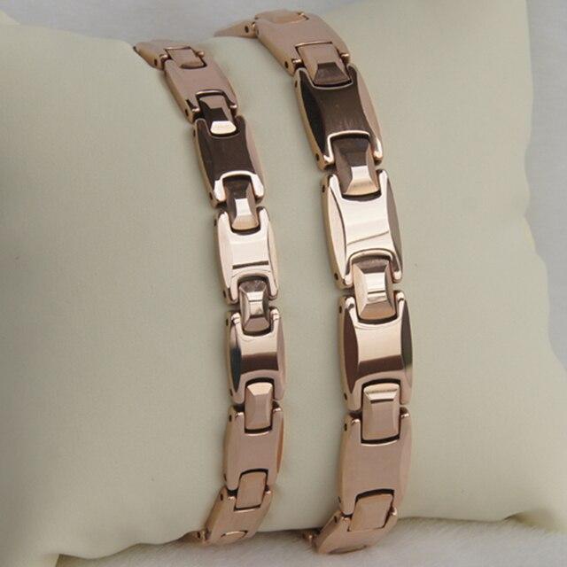 Best Price 8mm width classic rose gold plating women jewelry hi tech magnetic  tungsten bracelet