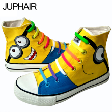 JUP New High Quality Men Female Flat Despicable Me Minions Style Canvas Painted Handmade Shoes Casual Lazy Shoes Gift Footwear