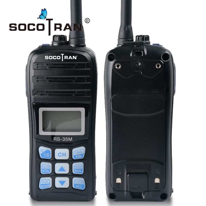 Waterproof IP67 VHF Ham Walkie Talkie Handheld Marine Two Way Radio LCD Display Dual Auto Scan Float Sea Radio Interphone RS-35M