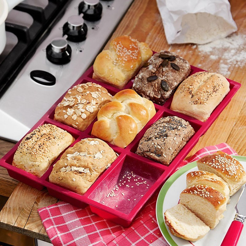 9 Cup Muffin Brownie Cake Mold Silicone Nonstick Bakeware Family DIY Baking Tools Cake Mould2