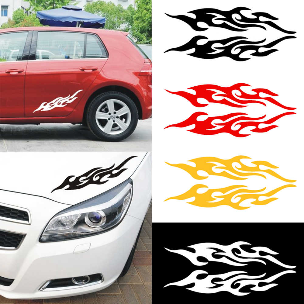 2pcs universal car sticker styling engine hood motorcycle decal decor mural vinyl covers auto flame fire