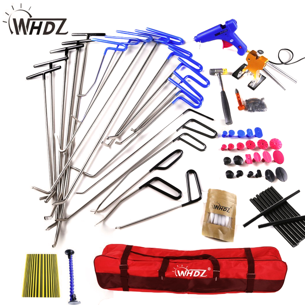 52PCS Dent Removal Pdr Rod Tool Kit - Hail and Door Ding Repair Starter Set with Tap Down Dent Puller pdr rod tool kit set door ding repair hail damage repair with with 9 heads aluminum tap down dent hammer paintless dent removal