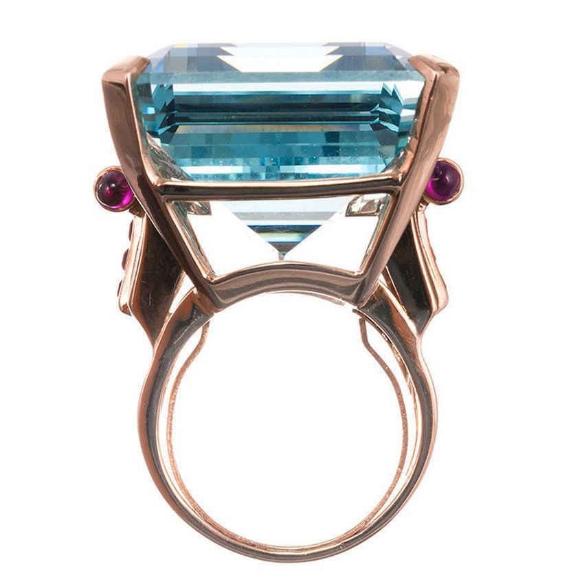 Новинка 2018, гипербола, модное розовое золото, женские кольца с большим камнем, простые синие циркониевые кольца, женские вечерние ювелирные изделия, bague femme